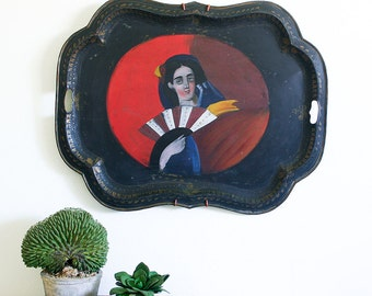 Antique Toleware Tray with Hand Painted Folk Art Portrait