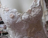 Vintage Kitty.. cream stretch mesh cami .. doilies, lace, roses.. ribbon and gorgeousness. one of a kind, shabby chic.. romantic, small/med