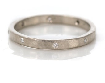 Wedding Band with Diamonds in 14k White Gold, Flush Set White Diamonds in a Hammered Band