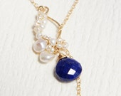 Lapis Lazuli Necklace, Pearl Lariat Y necklace, White Necklace, Akoya Pearl Necklace, Gift for Mom, Gift for Her