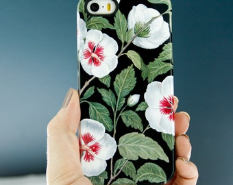 Hawaiian iPhone 7 Plus Case Hibiscus iPhone 6S Case, Floral iPhone SE, Tropical Flowers iPhone 5S Black