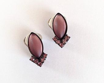 Vintage Purple Rhinestones and Plastic Diamond Earrings Clip On