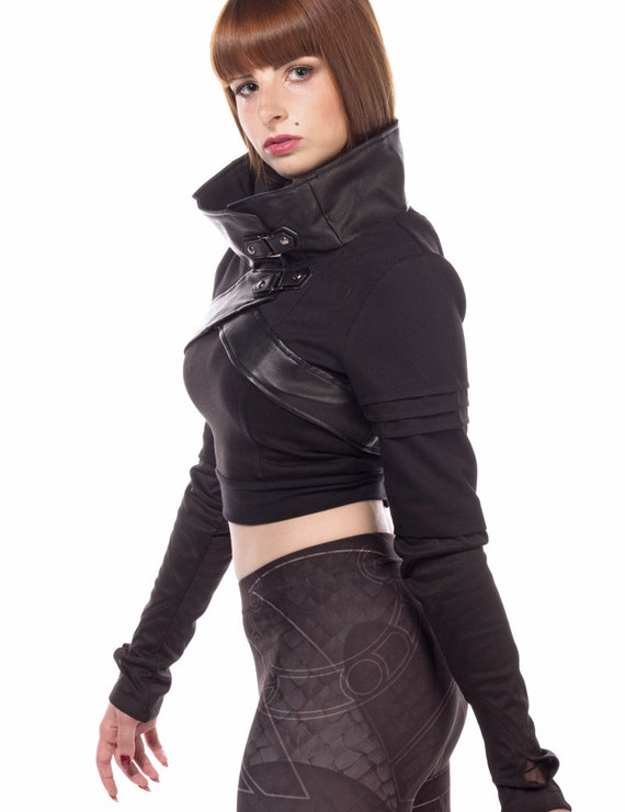 Plutonium cyberpunk anime inspired cropped jacket with cowl