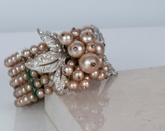 Exquisite vintage pearl and rhinestone bracelet
