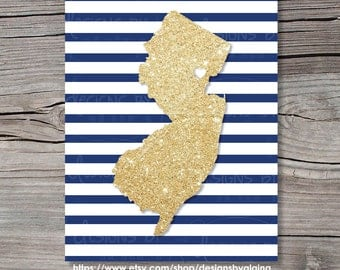 Gold Glitter State Print, Navy Striped, State Love Map, With Heart, Art Print, Wall Decor, Personalized, Printable, Digital 5x7, 8x10, 11x14