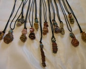 Gemstone Necklaces Wire Wrapped Handcrafted Custom Order Adjustable Black Cord