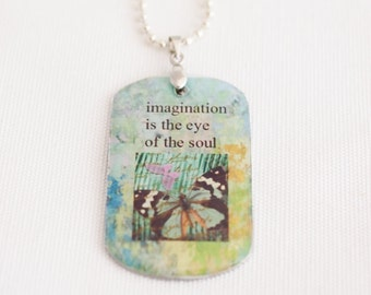 women's dog tag necklace, green butterfly, imagination quote necklace