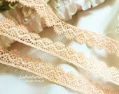 """3 yd Dusty Peach Shell Edging Lace Trim for scrap booking crafts Shabby Chic- 5/8"""""""
