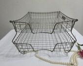 Wire Desk Tray Industrial Double File Basket