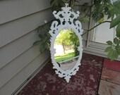 Wall Mirror Scrolls and Swirls White Frame