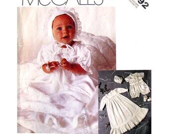 Baby Christening Pattern McCalls 2892 Baptism Dress Slip Romper Bonnet Vintage Infant Sewing Pattern Boys or Girls Size NB S M