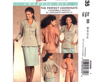 Princess Seam Jacket, Godet Skirt, Pants Pattern McCalls 5335 Palmer Pletsch Trouser Suit Size 8 10 12 14 UNCUT