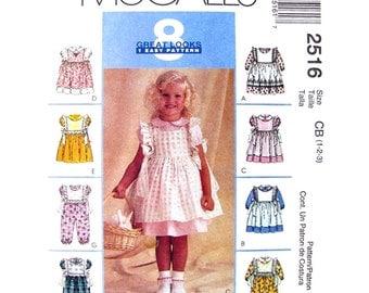 Girls Dress Jumpsuit & Pinafore Pattern McCalls 2516 Ruffled Puff Sleeve Dress Sewing Pattern Toddler Size 1 2 3 UNCUT