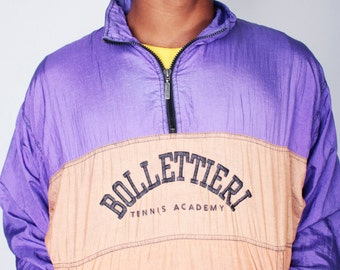 Vintage 80s Purple and Tan BOLLETTIERI Tennis Academy Zip Up Windbreaker by ADIDAS // Mens Vintage Jacket (sz S/M)