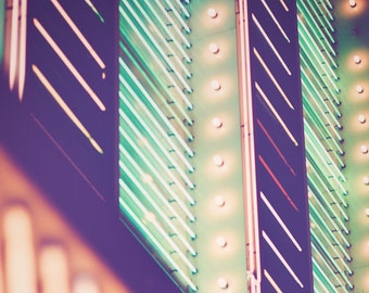 Turquoise Neon - teal abstract urban nightlife fine art photography print