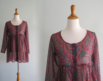 Vintage 90s Babydoll Top - Pretty Sheer Purple Print Baby Doll Blouse - Vintage 1990s Top S M