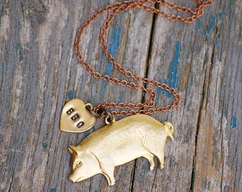 Pig Pendant Bacon Lover BBQ PIG Necklace Gold Pig Butcher Chef This Little Piggy Gift for Him Hog Necklace Gift for Her Farm Jewelry