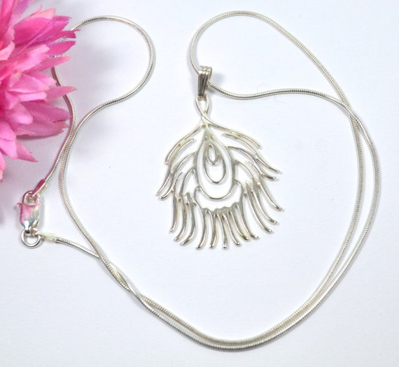 Fine jewellery sterling silver peacock feather trendy necklace