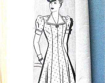 Vintage 1930s or early 1940s dress sewing pattern by Anne Adams 8708  Bust 34 inches