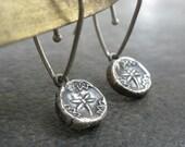 Silver Dragonfly Earrings Wax Seal Jewelry