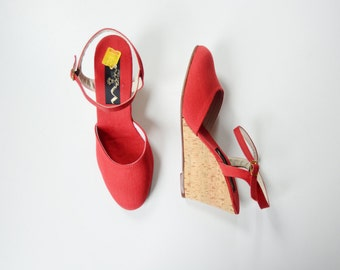 1970s Red Cork Wedge Sandals 7