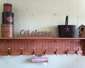 "Oak Coat Rack 9"" Deep 60"" Wide With 7 Hooks Wall Hangin Display Shelf Large Coat Rack"