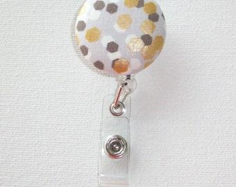 Retractable ID Badge Holder Reel  - Fabric Button  - metallic gold flecks Confetti - white gray