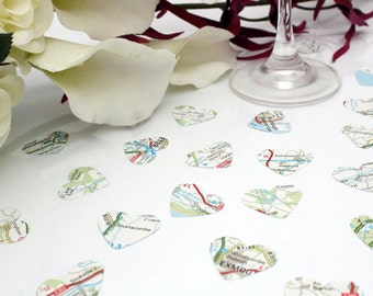 Wedding confetti paper heart- 200 vintage map die cut small punched hearts 25mm by 24mm- Great romantic table decoration- Travel