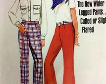 """BUTTERICK 5045 Uncut vintage sewing pattern. Flares or cuffed pants. 60's small womens trousers waist 65 cm, 25 1/2"""""""