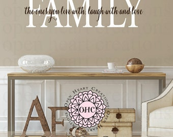Family Quotes Wall Decals - Live Laugh Love Vinyl Wall Decal Quote Lettering Transfer Home Wall Art 10H x 36W QT0306