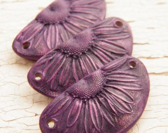 NEW Dusky Eggplant Purple - Half Daisy rustic boho chic painted focal station pendant (ready to ship)