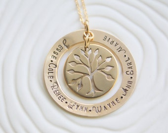 Gold Family Tree Necklace - Gold Tree of Life Necklace - Gold Mother's Necklace - Gold Grandmother's Necklace - Tree of Life - Mother's Gift