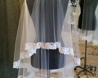 Lace Edge Drop Wedding Veil Fingertip Length Circle Cut