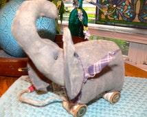 Handmade Primitive Elephant Pull Toy  HAFAIR