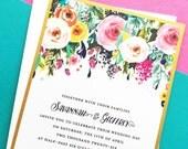 Wedding Invitation, Watercolor Floral Wedding Invite, Sublime Watercolour Floral Wedding Invitation Suite Set, Gold Wedding Invitations