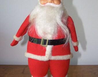 Vintage, Rubber Face, Santa Claus, Red Outfit, Retro Christmas, Christmas Decor, Santa Doll Figurine, Christmas Collectible