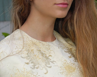 BEAUTIFUL Embroidered Silk and Gold Japanese Lotus Flower Crop Top with Shimmer/Sparkle Thread//small - medium