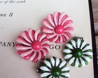 Vintage Retro Metal Flower Earrings Painted Enamel 1960s 60s Mod lot Costume Jewelry