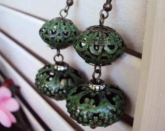 Vintage Style Bohemian Chic Earrings Verdigris Green Metal Medallions Rhinestones and Antique Brass