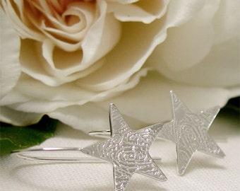 Sterling Silver Dangle Earrings, Dainty Silver Star Earrings, Small Star Dangle Earrings, Modern Drop Earrings, Simple Silver Jewelry