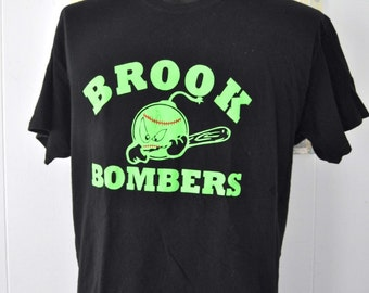 Vintage Sports TShirt Neon Green Black Tee Brook Bombers Baseball Softball McGhee Number 11 90s LARGE XL