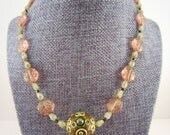 Beaded necklace. Pink and green. Glass beads. Gold detailing. Gift for her, womens gift, mom jewelry.