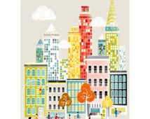New York Print Manhattan Skyline, Wall Art Paper Poster, Cityscape Illustration, Decor for Home, Office and Nursery, Christmas Gift, SPPNYM1