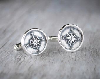 Compass Cufflinks -  Sterling Silver Nautical CuffLinks - Wax Seal Cuff Links -  Wedding Cuff Links Compass Cufflink