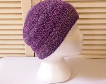 Womens Crochet Beanie / Purple Stripes / Adult/Teen Size Crocheted Skull Cap/ Handmade Accessories