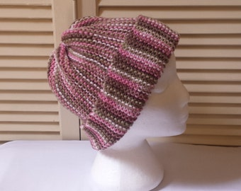 Hand Knitted Striped Hat / Pinks, Greens, And Browns / Womens Knit Beanie/Cap/Skullcap/ Handmade Hats And Caps