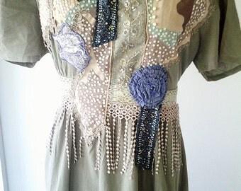 art to wear, wearable art,  bohemian clothing, green upcycled dress, handmade dress, gypsy clothing, wearable art,