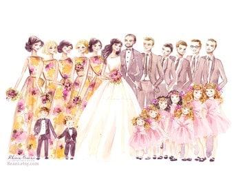 Custom Wedding Illustration, Bride Groom Portrait, Wedding Gift, Save the Date Art, Custom Wedding Portrait, Couple Portrait by Reani