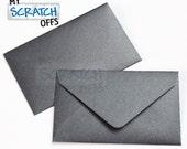 Metallic Black 10 Wedding Favors Lottery Ticket Mini Envelopes Lotto Shower Baby Scratch Metallic