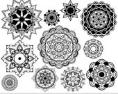 Mandala Clipart Vector Mandala Clip Art Henna Tattoo Lotus Flower Clipart Digital Mandala Scrapbooking Tribal Oriental